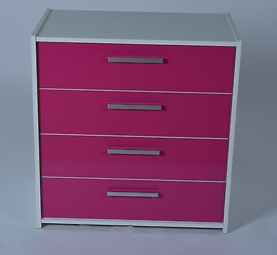 Shelby 4 Drawer Chest in White Effect with Pink Gloss Drawers