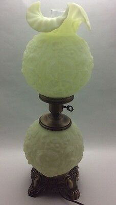 Fenton Milk Glass Poppy Gone With The Wind 3 Way Parlor Lamp ~Off White, Yellow