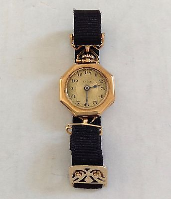 Vintage Invar Working Ribbon Watch With 14K Gold Catch