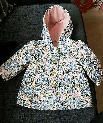 Baby Girls Summer Floral Jacket With Hood 0-3 M&S Brand New
