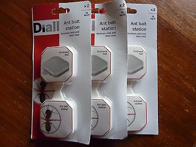 3 Brand New And Factory Sealed '' Dial '' Ant Bait Stations ( 2 X Per  Pack )