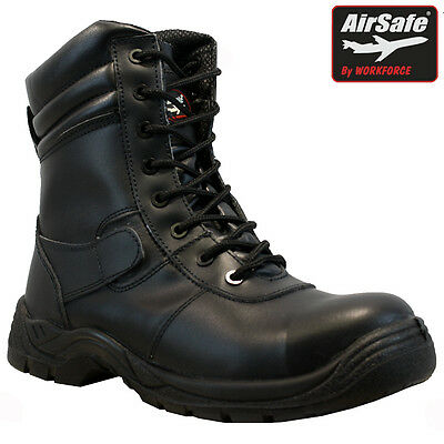 Mens Airsafe Leather Safety Composite Toe Cap Combat Airport Police Work Boots