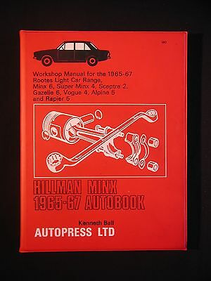 HILLMAN MINX 1965-67 Workshop Manua AUTOBOOK * Kenneth Ball * Autopress Ltd 1972