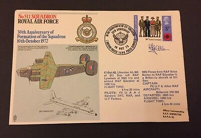 Raf Flown Cover Commemorating 511 Squadron, Signed By Flight Captain F G Allen.