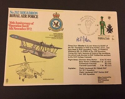 Raf Flown Cover Commemorating 202 Squadron, Signed By Captain H G P Norton.