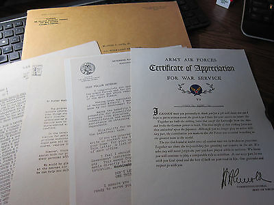 Antique LOT of 5 MILITARY letters WWII 40'S Army Air Forces Truman Omar Bradley