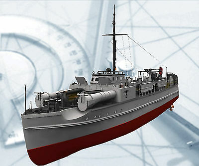 """Scale German E Boat Model Ship Printed Plans Only  35.8"""" Gas Or Electric Power"""