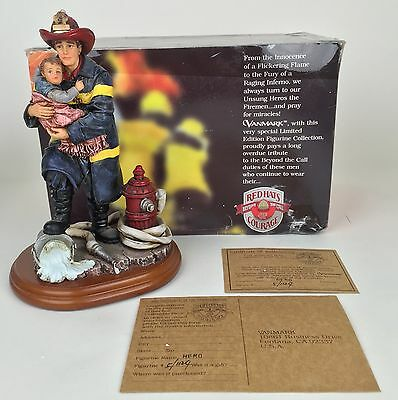 "Red Hats Of Courage Vanmark Hero 9"" Limited Edition Fireman Figurine Firefighter"