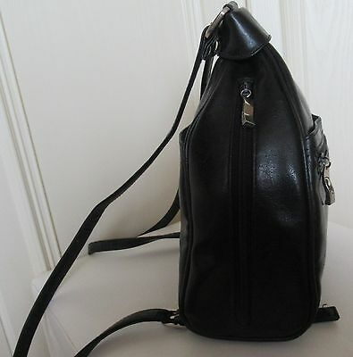black small faux leather back-pack - River Island