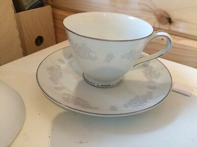 Noritake Tea Cup And Saucer Delicate Grey Decoration