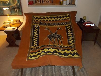 African Art Barkweave Fabric Textile Tapestry Wall Hanging Tablecloth Giraffes