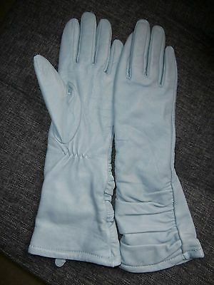 Pair Ladies  Pale Blue Real Soft Leather Gloves ~ Size S/m ~ Long Length