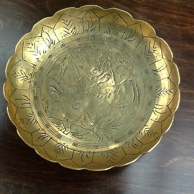 Scalloped Edge Brass Oriental Dish with Engraving