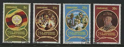 Zimbabwe: 1982 Boy Scouts 75th Anniversary set of 4 stamps SG616-619 Used- AF281