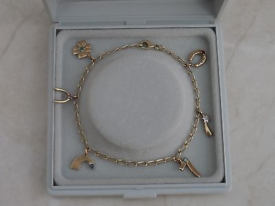 """Gorgeous 7.5"""" marked 9ct 375 Yellow Gold GOOD LUCK Charms Bracelet 5.1gr"""