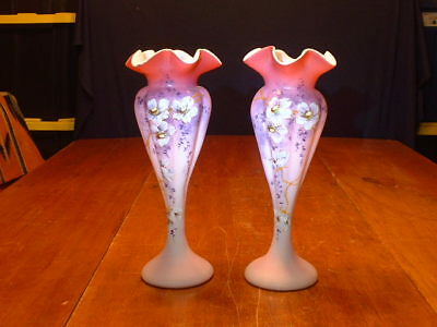RARE Pair of Antique Victorian Enamel Decorated Pink Satin Art Glass Vases