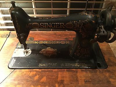 Singer Sewing Machine Table With Iron Foot Pedal Vintage Antique