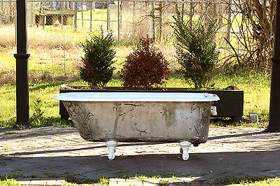 1924 Refinished 5' Clawfoot Bathtub Original Silver Exterior Cast Iron Tub Pkage