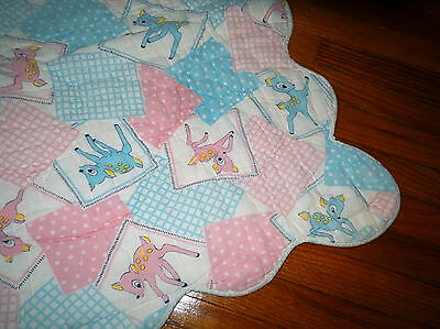 Cute and scarce vintage ca. 1950's Bambi crib blanket / quilt - scalloped edges