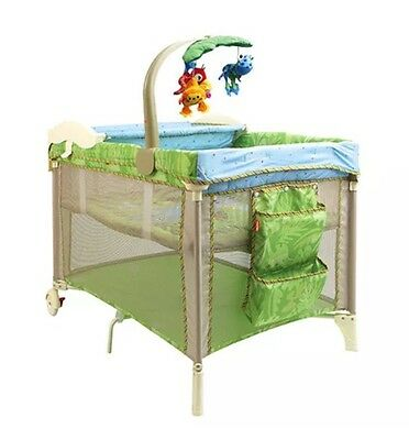 Fisher Price Delux 3 In 1 Portable Cot With Musical Mobile and Infant Sling