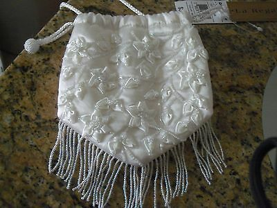 Bridal white satin embellished wedding purse with fringe