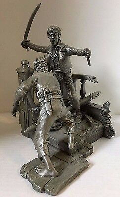 """1988 The Franklin Mint Defending The Crown Fine Pewter Pirate Fight 6"""" Statue"""