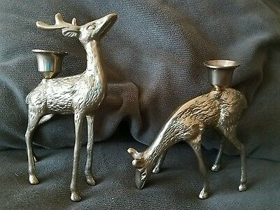 "Set of 2 Brass Deer Candle Holders for 3/4"" tapers,6"" Tall, vintage"