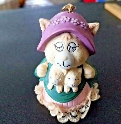 """Adorable Mama Cat Bell Ornament, Approx 3"""" Tall, Porcelain, Feet are Clapper"""