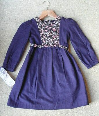 Vintage French Navy Blue & Floral Girls' Dress BNWT - Soltin - 1970's