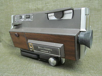BELL & HOWELL FILMOSOUND 8mm film movie camera 1960's vtg & handle Japan sound