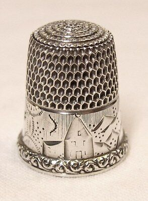 Antique Simons Brothers Sterling Silver Thimble Country Scene Raised Rim