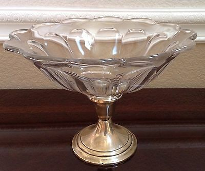 Vintage Gorham Sterling Silver pedestal or candle base Bowl Glass