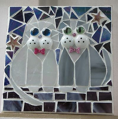 """Stained Glass Mosaic Cats """" Night on the Tiles ,"""" handmade"""