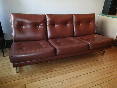 Mid Century Style Vinyl and Chrome Sofa