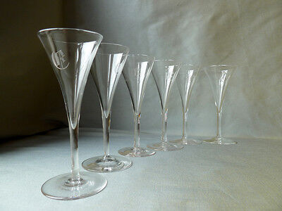 6 fine antique Victorian crystal trumpet shape glasses with etched monogram