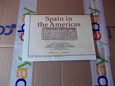 vintage map, National Geographic map Spain in the Americans  February 1982