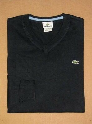 LACOSTE Men's V-Neck Pullover Sweater.  Euro Size:5/US Size:M.  Color:Navy.