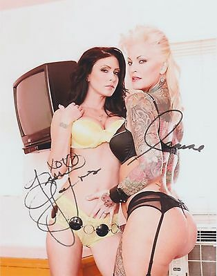 """Jessica Jaymes & Janine Lindemulder """"Porn Star's"""" RARE DUEL-SIGNED RP 8X10 WOW!!"""