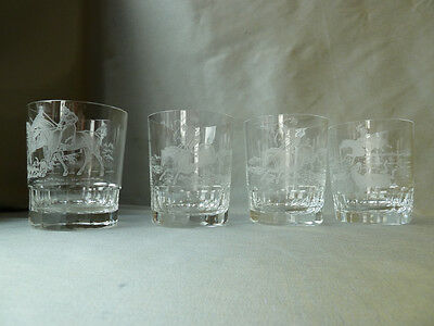 4 vintage Royal Brierley whisky glasses with etched horse racing scenes, signed