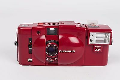 Olympus XA 3 RED + Electronic Flash A11 - NEW SEALS