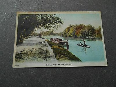 Postcard STAINES View on The Thames - sent 1904 ? Middlesex