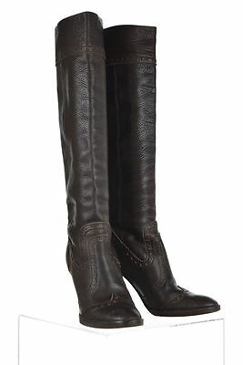 Michael Kors Womens Brown Knee High Boots Sz 9 M Leather Block Heels Shoes