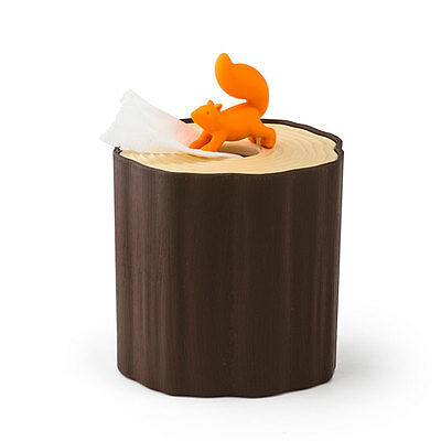 Qualy Squirrel Log Tissue Toilet Paper Holder Cover For Tabletop Countertop