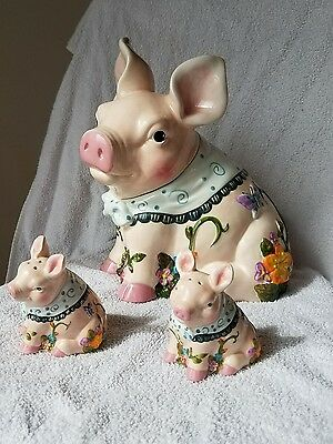 Rare Vintage Mercuries Whimsical Pig Cookie Jar With Salt and Pepper Shaker Set