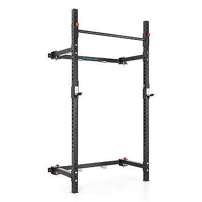 Folding Rack Squat Dip Chin Up Weight Lifting Power Home Gym Wall Mounted Frame