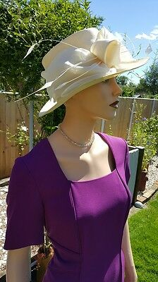 Sac's Hat Natural Ivory Cream Evening Races Derby Mother Bride Groom £149
