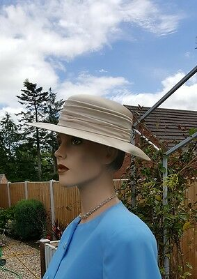 Marida Champagne Gold Satin Hat Wedding Races Evening Mother Bride Groom £175