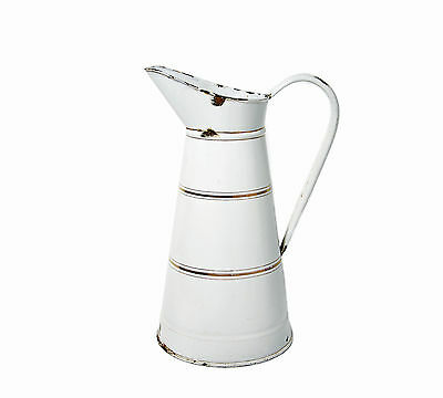 Antique White French Enamelware/Graniteware Body Pitcher With Gold Bands~Elegant