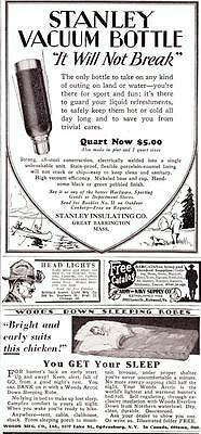 1929 Vintage ads Stanley Vacuum Bottle Fisherman Woods Sleeping Bags Cabin Art