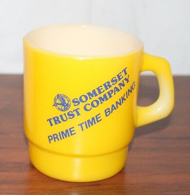New Old Stock Somerset  Trust Company NJ Coffee Mug Yellow Milk Glass McKee